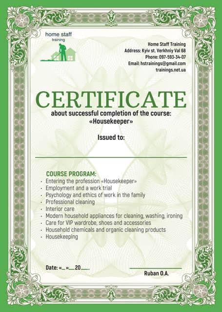 Certificate of the housekeeper. Housekeeper training